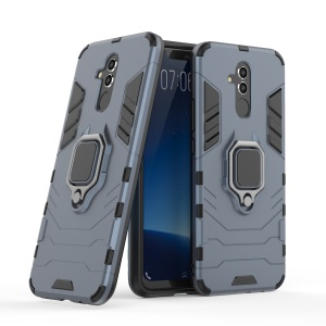 TPU + PC Hybrid Case with Finger Ring Kickstand for Huawei Mate 20 Lite - Blue