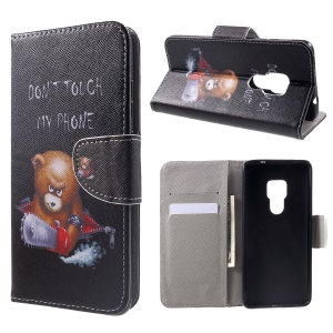 Cross Texture Patterned Wallet Leather Case for Huawei Mate 20 - Angry Bear