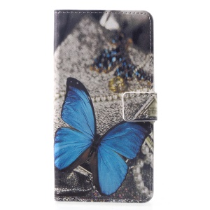 Pattern Printing PU Leather Magnetic Wallet Stand Cell Phone Case for Huawei Mate 20 - Blue Butterfly
