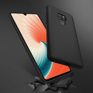 For Huawei Mate 20 Twill Texture TPU Back Mobile Cover - Black