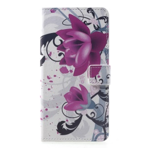 Pattern Printing PU Leather Magnetic Wallet Stand Cover for Huawei Mate 20 Pro - Purple Flower