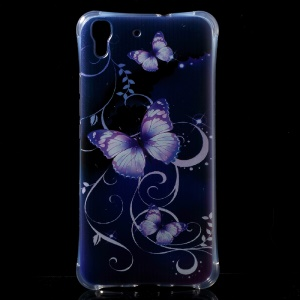 Air Cushion Shock Resistant TPU Cover for Huawei Honor 4A / Y6 - Pretty Butterflies Vines