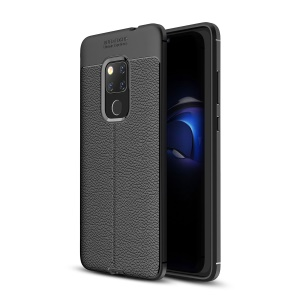 Litchi Skin TPU Protection Cell Phone Case Cover for Huawei Mate 20 - Black