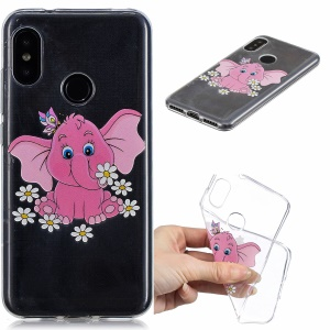 Pattern Printing Embossed TPU Case for Xiaomi Mi A2 Lite / Redmi 6 Pro - Elephant and Flower