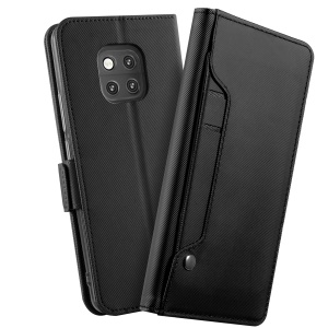 Leather Wallet Stand Case with Card Holder and Makeup Mirror for Huawei Mate 20 Pro - Black