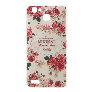 Softlyfit Embossing Pattern Printing TPU Shell for Huawei Enjoy 5s - Elegant Peony