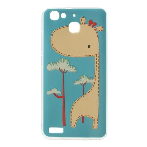 Softlyfit Embossing Pattern Printing TPU Cover Case for Huawei Enjoy 5s - Adorable Giraffe