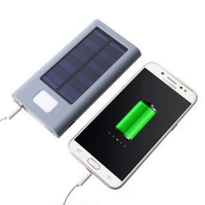 Portable 2.1A USB Wireless Solar Panel Energy Backup Battery Charger Mobile Power Bank 10000mAh with LED Indicator Lights - Grey