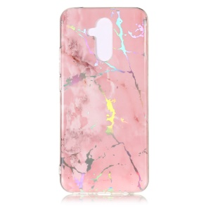 Marble Pattern Plated IMD TPU Protector Phone Shell for Huawei Mate 20 Lite / Maimang 7 - Pink