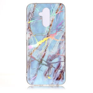 Marble Pattern Plated IMD TPU Mobile Phone Case for Huawei Mate 20 Lite / Maimang 7 - Baby Blue