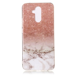 Marble Pattern Printing IMD TPU Protection Cell Phone Case for Huawei Mate 20 Lite / Maimang 7 - Rose Gold / White