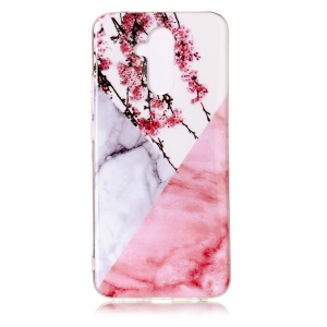 Marble Pattern Printing IMD TPU Cellphone Cover for Huawei Mate 20 Lite / Maimang 7 - White / Pink