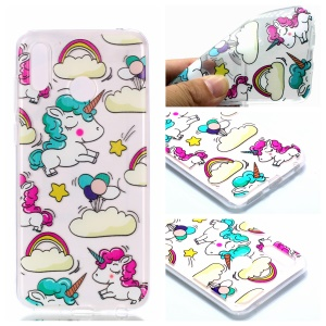 Pattern Printing TPU Case for Huawei Honor Play - Cloud and Unicorn