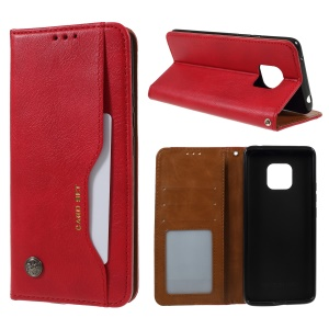 PU Leather Auto-absorbed Stand Wallet Phone Case for Huawei Mate 20 Pro - Red