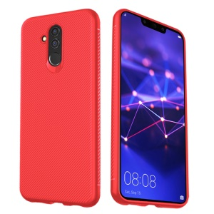 LENUO Twill Texture TPU Back Case for Huawei Mate 20 Lite - Red