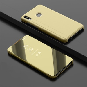 Mobile Casing for Huawei Honor 8X Max [Electroplating Mirror Surface] View Window Leather Stand Cover - Gold
