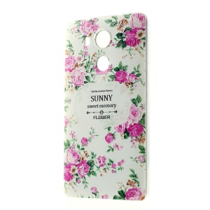 Softlyfit Embossing Pattern Printing Slim TPU Case for Huawei Mate 8 - Elegant Peony