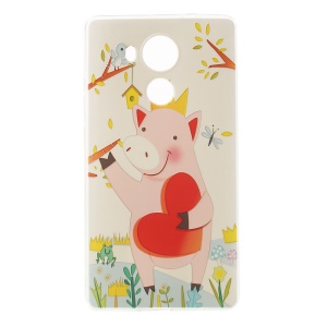 Softlyfit Embossment TPU Case Accessory for Huawei Mate 8 - Lovely Pink Pig