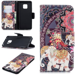 Leather Phone Shell for Huawei Mate 20 Pro Pattern Printing Wallet Stand Case - Elephant and Peacock