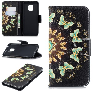 Leather Mobile Phone Case for Huawei Mate 20 Pro Pattern Printing Wallet Stand Case - Colorized Butterflies