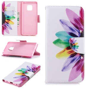 Pattern Printing PU Leather Wallet Flip Stand Phone Case for Huawei Mate 20 Pro - Petals Pattern