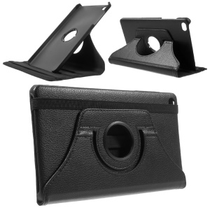 Lychee Skin Leather Case with 360 Degree Rotating Stand for Huawei MediaPad M2 8.0 - Black