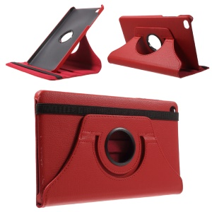 Lychee Skin Leather Case Cover with 360 Degree Rotating Stand for Huawei MediaPad M2 8.0 - Red