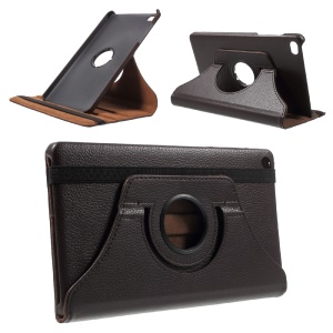 Lychee Skin 360 Degree Rotating Stand Leather Case Cover for Huawei MediaPad M2 8.0 - Coffee