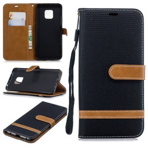 Dois Tons Jean Pano PU Leather Flip Case Para Huawei Mate 20 Pro - Preto