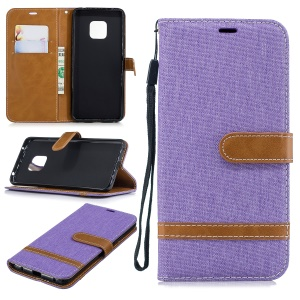Two-tone Jean Cloth PU Leather Flip Cell Phone Cover for Huawei Mate 20 Pro - Purple