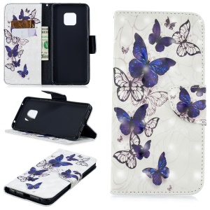 Light Spot Decor Pattern Printing Wallet Stand Leather Flip Casing for Huawei Mate 20 Pro - Blue and White Butterfly