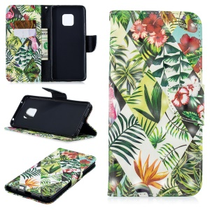 Light Spot Decor Pattern Printing Wallet Stand Leather Flip Protective Case for Huawei Mate 20 Pro - Plant