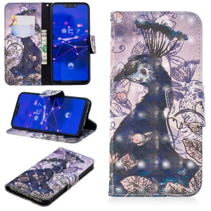 Light Spot Decor Pattern Printing Wallet Stand Leather Mobile Phone Case for Huawei Mate 20 Lite / Maimang 7 - Peacock