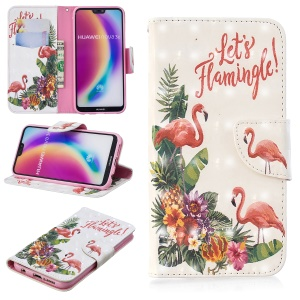 Pattern Printing Light Spot Decor Leather Wallet Cover for Huawei P20 Lite / Nova 3e (China) - Flamingo