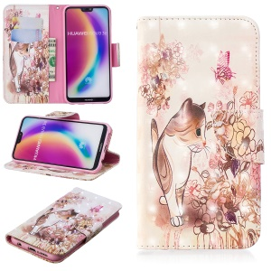Pattern Printing Light Spot Decor Leather Wallet Shell Case for Huawei P20 Lite / Nova 3e (China) - Cat and Flowers