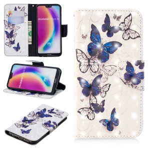 Pattern Printing Light Spot Decor Leather Wallet Phone Case for Huawei P20 Lite / Nova 3e (China) - Beautiful Butterfly