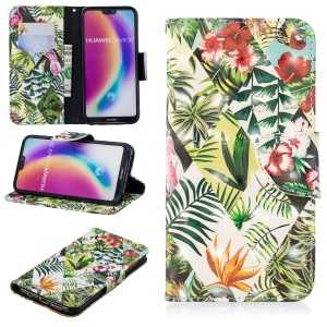 Pattern Printing Light Spot Decor Mobile Phone Leather Wallet Case for Huawei P20 Lite / Nova 3e (China) - Leaves