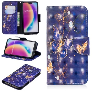 Pattern Printing Light Spot Decor Cell Phone Leather Wallet Case for Huawei P20 Lite / Nova 3e (China) - Vivid Butterfly