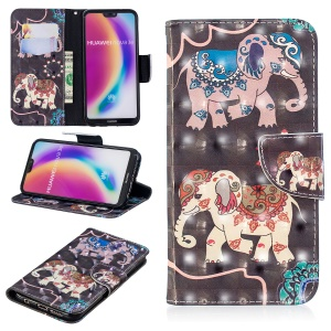 Pattern Printing Light Spot Decor Leather Wallet Cover Shell Case for Huawei P20 Lite / Nova 3e (China) - Elephant