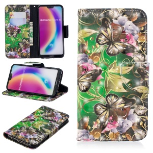 Pattern Printing Light Spot Decor Stand Leather Wallet Case for Huawei P20 Lite / Nova 3e (China) - Butterfly and Flowers