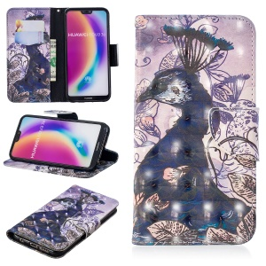 Pattern Printing Light Spot Decor Leather Stand Case with Card Slots for Huawei P20 Lite / Nova 3e (China) - Peacock