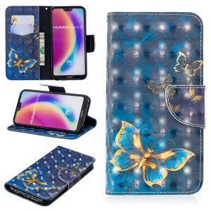 Pattern Printing Light Spot Decor Leather Stand Cover with Card Slots for Huawei P20 Lite / Nova 3e (China) - Blue Butterfly