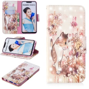 Light Spot Decor Pattern Printing Leather Flip Wallet Stand Case for Huawei nova 3i / P Smart Plus - Cat
