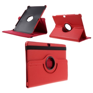 Litchi Skin Leather Case Cover with 360 Degree Rotating Stand for Huawei MediaPad M2 10.0 - Red