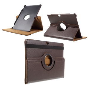 Litchi Skin 360 Degree Rotating Stand Leather Cover for Huawei MediaPad M2 10.0 - Coffee
