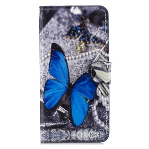 Pattern Printing Leather Phone Shell with [Stand Wallet] for Huawei Mate 20 Lite / Maimang 7 - Blue Butterfly