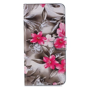 Pattern Printing [Wallet Stand] Leather Phone Casing for Huawei Mate 20 Lite / Maimang 7 - Red Flower