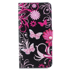 Pattern Printing Leather Card Holder Mobile Case for Huawei Mate 20 Lite / Maimang 7 - Butterfly and Flower