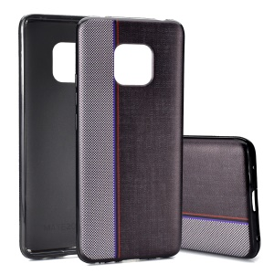Jeans Cloth Texture Splicing TPU Back Phone Case for Huawei Mate 20 Pro - Grey / Black