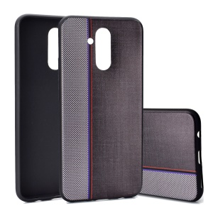 Splicing Jeans Cloth Texture Soft TPU Phone Cover for Huawei Mate 20 Lite / Maimang 7 - Grey / Black